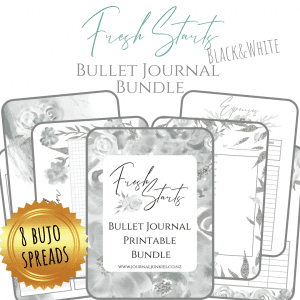 Fresh Starts black and white bundle printable bullet journal layouts