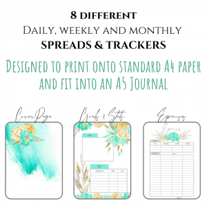 Fresh Starts Bullet Journal printable download A4 for A5 PDF first 3