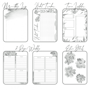 Fresh Starts black and white bundle printable bullet journal layouts last 6