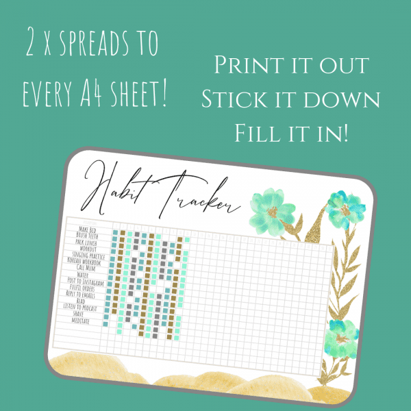 Fresh Starts bullet journal printable pdf download for A5 A4 habit tracker