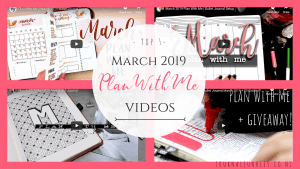 March 2019 plan with me bullet journal spread videos