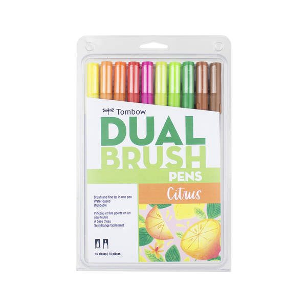 Citrus Tombow dual brush pen 10 pack new zealand