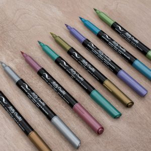 Metallic Jewel Brush Pens - Kelly Creates on Metallic Jewel Brush Pens - Kelly Creates on wood