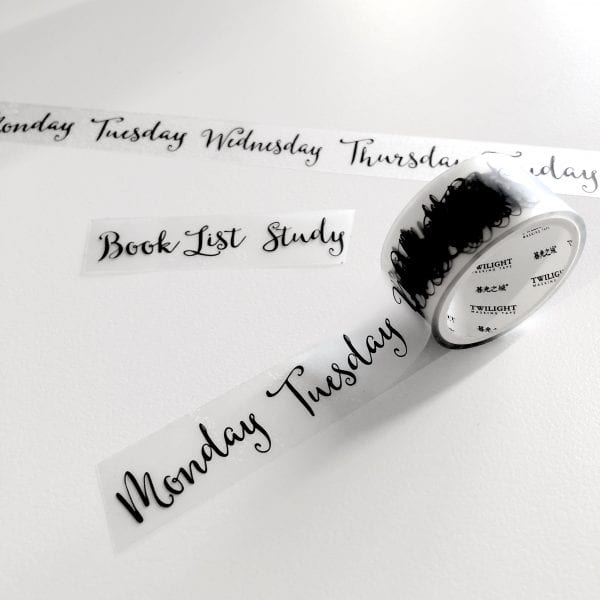 bouncy lettering washi tape weekday