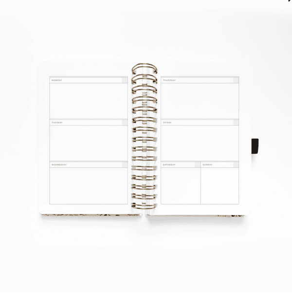 Archer and Olive A5 Spiral Planner | Blush-A-Bye weekly log