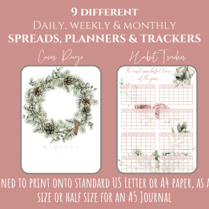 december Christmas Bullet Journal Printable Layouts spreads PDF downloads first 3