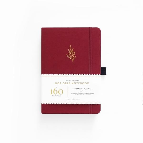 Archer and olive red leaf bullet journal A5 dotted Notebooks Nz
