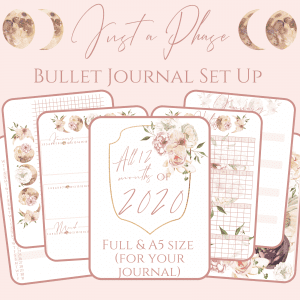 Just a moon phase bullet jurnal printable pdf pretty download bundle