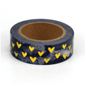 Golden hearts medium washi tape for bullet journals nz