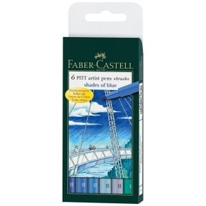 Faber-Castell Pitt Artist Brush Pens 6 Pack Blues