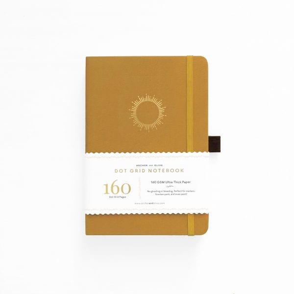 archer and olive 160gsm notebook new zealand and australia for bullet journals morning sun yellow